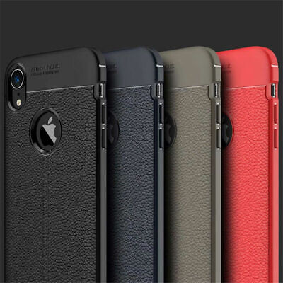 For iphone Xs Max Xr X 8 7 6S Silicone Rubber TPU Leather Slim Back Cover Case p