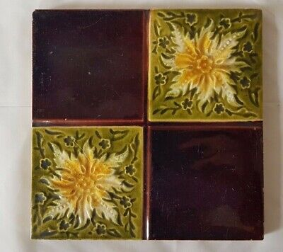 CHARMING english QUADRANT DESIGN YELLOW FLORAL VICTORIAN 6 INCH TILE
