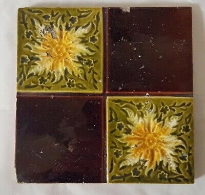 Charming Quadrant Design Yellow Floral Victorian 6 Inch Tile With Character