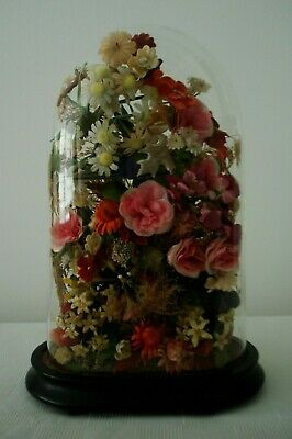 Antique Glass Display Dome/ Case With Parakeet & Artificial Flowers (Taxidermy)