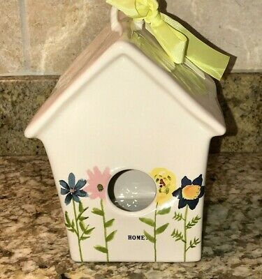 Rae Dunn By Magenta BLOOM Birdhouse Yellow Ribbon Ceramic Floral Brand New