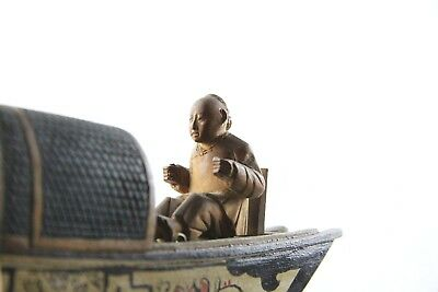 1900 CHINESE Antique MERCHANT BOAT Indochine Tonkin Handmade wood Sculpture TOY