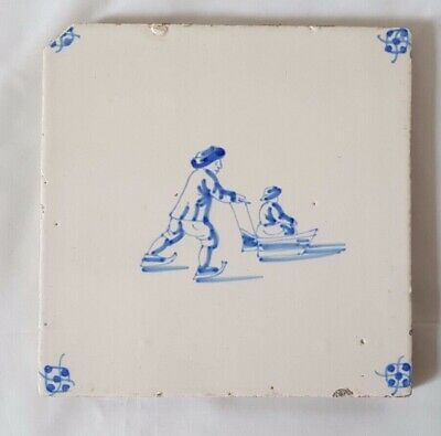 CHARMING  ANTIQUE DELFT TILE WITH FIGURATIVE sleighing SCENE, 13CM