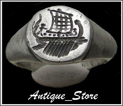 ** GALLEY ** Ancient Legionary Silver Roman Ring ** VERY RARE **