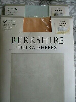 c25f18ee6b6 Berkshire Ultra Sheer Queen Control top sandalfoot pantyhose 2 pair 3x-4x