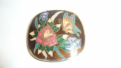 Vintage Cloisonne Butterfly and Flowers Belt Buckle Pretty Colors