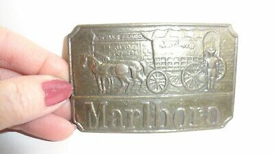 Vintage Solid Brass Marlboro Belt Buckle with Wells Fargo Horse and Carriage