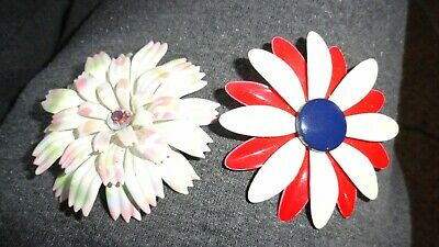2 Vintage Metal Flower Pins Brooches Red Cream Blue Daisy /pink Grn Center Stone