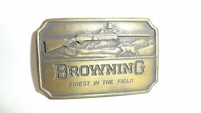 Vtg Browning Finest In The Field Belt Buckle Indiana Metal Craft #Xr83 Brass