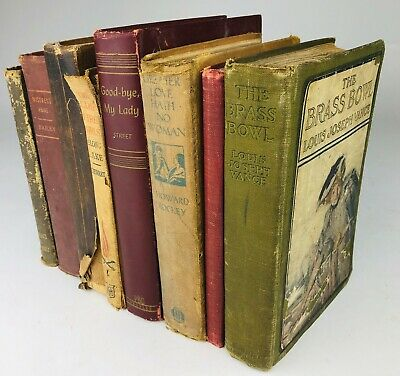 Lot of 8 Cool Vintage Old Antique Books Mixed Colors and Genres 1900s Lot #1