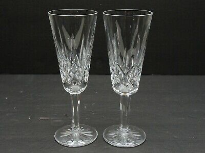 Waterford Crystal Pair -- Lismore Champagne Toasting Flutes Glasses