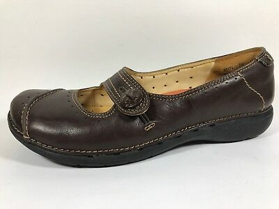 Comfort Shoes Womens Clarks Structured 66588 Black Leather Mary Janes Loafers Shoes Size 10 M