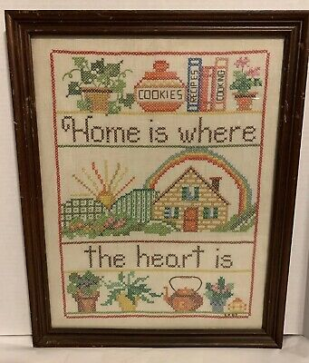 Vintage 1982 HOME IS WHERE THE HEART IS Hand Embroidered Sampler Framed 14 X 18""