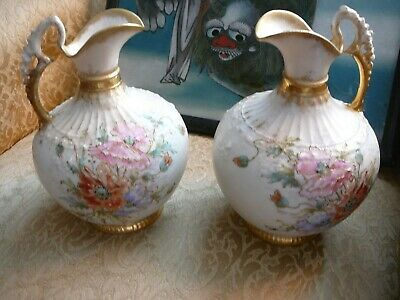 Antique Pair Of Austrian Hand Painted Pitchers