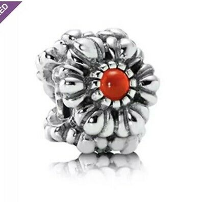 51e5f9994 Retired Pandora Carnelian Red July Birthday Bloom Charm Sterling Silver 925  ALE