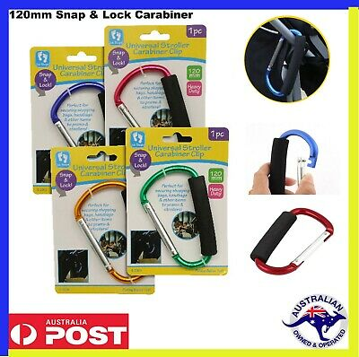 2 x Carabiner Pram Snap Lock Baby Stroller Hook Push Chair Handle hanger Prams