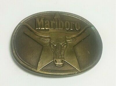 Vintage. Marlboro Cigarettes. Solid Brass Belt Buckle. 1987.