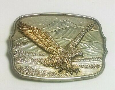 Vintage. Eagle & Mountains. Belt Buckle. Silver in color.