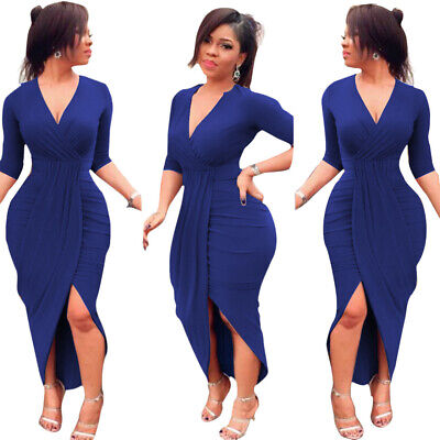 Womens V Neck Midi Dress Wrap Evening Formal Cocktail Long Sleeve Bodycon Gown