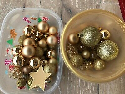 Shatterproof/glass mix Christmas Ball Hanging Tree Ornament small size Gold