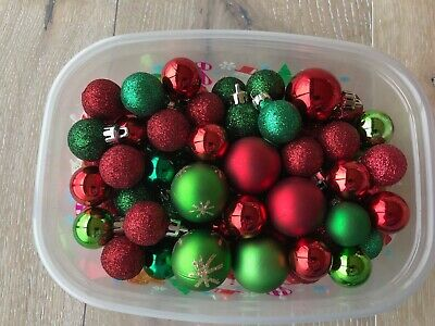Shatterproof/glass mix Christmas Ball Hanging Tree Ornament small red/green
