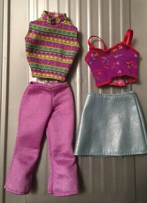 Lot Barbie Doll Clothing Plastic Leather Skirt, 2 tops, Purple Capris, Pink Tag
