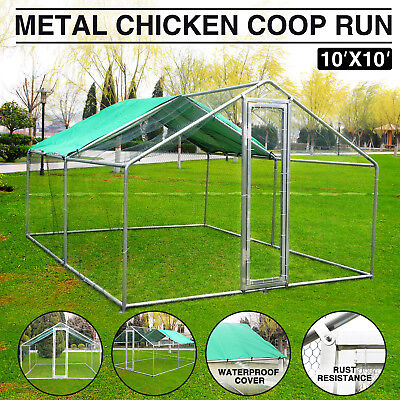 10x10ft Large Metal Chicken Run Walk in Coop for Poultry Dog Rabbit Hen Cage Pen