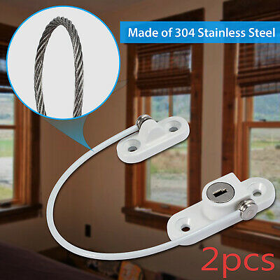 2 PCS Window Door Restrictor Child Baby Safety Security Lock Cable Catch Wire