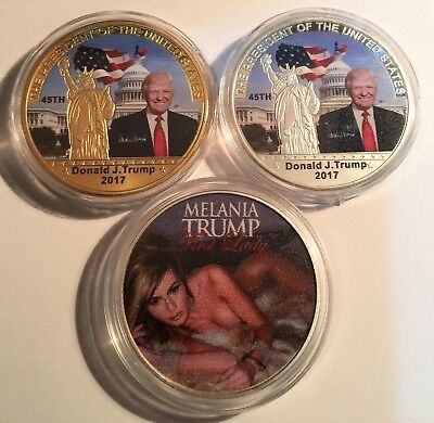 Set of 3 Donald/Melania Trump 45th USA President Coins 999 Silver/Gold Plated