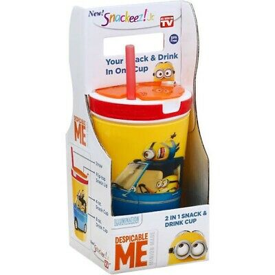 NEW SNACKEEZ ! Jr. 2 In 1 SNACK & DRINK CUP BPA FREE DESPICABLE ME MINION MADE