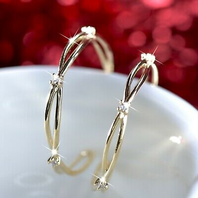 18k yellow gold gp 925 silver crystal hoop stud open hoops fashion earrings 27mm