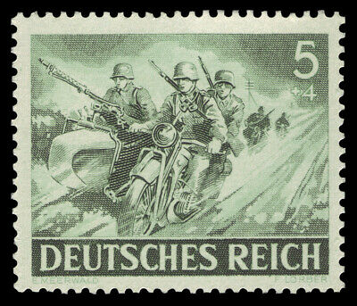 Germany RARE NAZI WWII WW2 stamp BMW R75 Army motorcycle side car in Attack MNH
