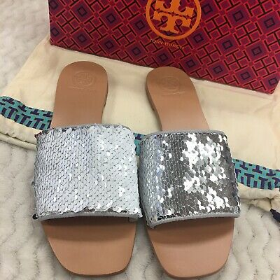 ada9a36f7 NIB Tory Burch Carter Reversible Sequin Slides Size 7.5 Silver White
