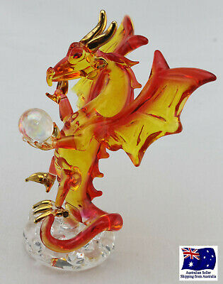 Blown Glass Magical Dragon with Ball Figurine - Gold Plated Orange