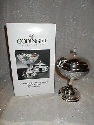 NEW footed candy dish of hand cut crystal with silver plated lid/stand, GODINGER