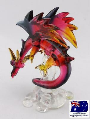 Handmade Blown Glass Dragon Mystical Figurine Red Black