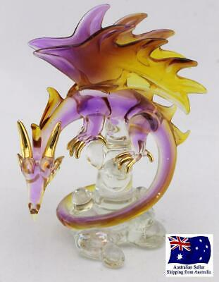 Blown Glass Dragon Mystical Figurine Yellow Purple