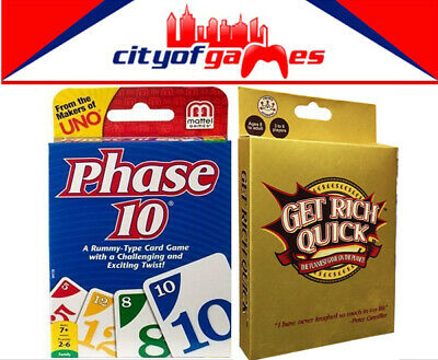 Phase 10 & Get Rich Quick (Formally Billionaire) Card Game Bundle Brand New
