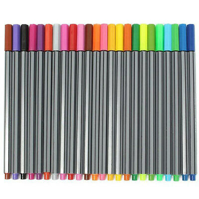 24Colors Felt Tip Pens Fine Tipped Markers Water Colour Pen Multifunction