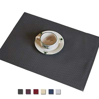 Eforcurtain Set of 4 Modern Waffle Design Table Mats Waterproof Spill Proof, for