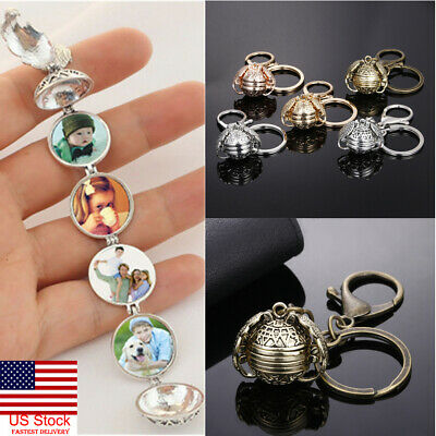US Expanding 4Photo Locket Necklace Silver Ball Angel Wing Pendant Memorial Gift