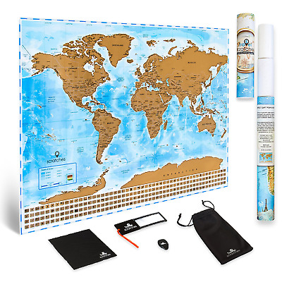 Scratch Off World Map Travel Poster - US States & Country Flags. Deluxe Tracker