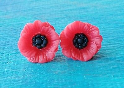 One Pair Vintage Resin Red Poppy Stud Earrings  12mm