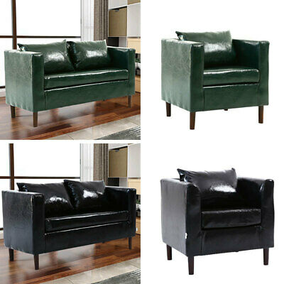 Modern 2 Seater Sofa in Faux Leather Padded Wood Legs Recliner Tub Settee Couch