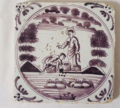 Charming 18Th Century Antique Delft Tile Figural Scene, 13Cm
