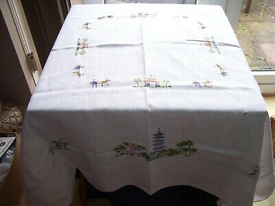 "Large Vintage Hand Embroidered Linen Table Cloth Oriental Houses Trees 50"" x 52"""