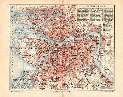 Antique map. RUSSIAN EMPIRE. CITY PLAN OF SAINT PETERSBURG. 1896