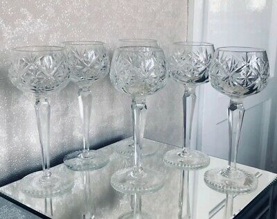 Pottery & Glass Strikingly Decorative And Unusual Harlequin Cut Crystal Wine Glass Signed Moser
