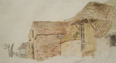GOOD QUALITY EARLY 19th CENTURY BRITISH WATERCOLOUR - ANTIQUATED FARMSTEAD
