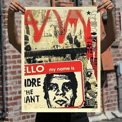 """OBEY Shepard Fairey """"Hello My Name Is"""" Signed & Numbered Screen Print - IN HAND"""